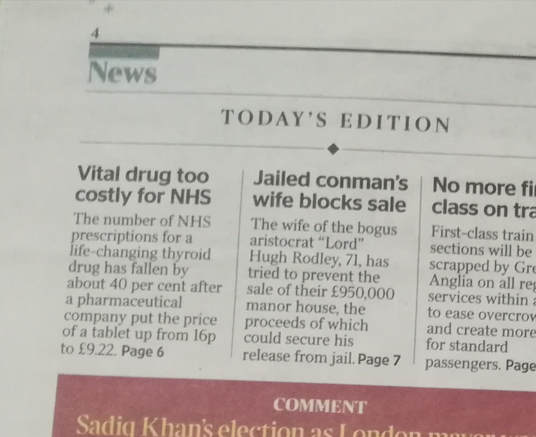 The Times page 2 liothyronine story 19 december 2018
